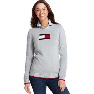 Tommy Hilfiger Gray Logo Sweater | M